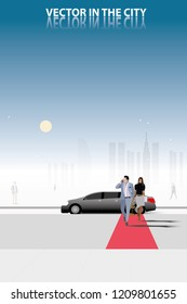 vector business man and his secretary walking on red carpet on limousine car and city background