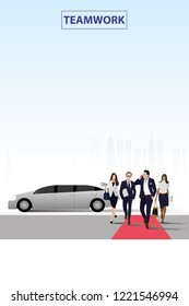 vector business man and his secretary and his advisor and his advertising walking on red carpet on limousine car and city background.teamwork concept