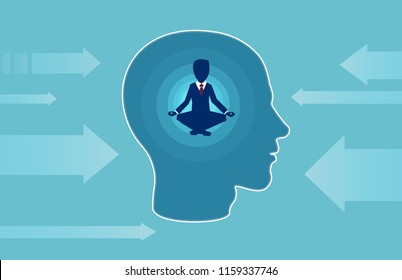 Vector of a business man inside human head doing yoga resisting outside negative influence. Peaceful mind, calm concept