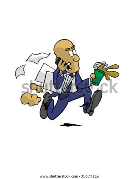 Vector of Business Man Rushing