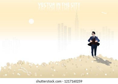vector business man standing on a lot of money