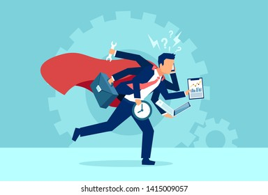 Vector of a business man super hero running in a hurry multitasking. Concept of very busy corporate employee lifestyle