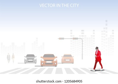 vector business man walking on the street on city background.