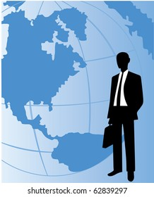 Vector of business man with world map