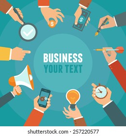 Vector business and management concept in flat style - banner with copy space for text with businessman hands