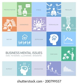 vector business mental issues icons set of depressed and stressed managers | modern flat design illustrations separated on colorful background