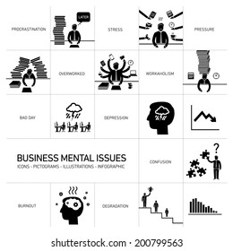 vector business mental issues icons set of depressed and stressed managers | black modern flat design illustrations separated on white background