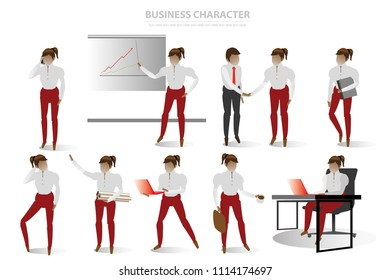 vector business office character on white background