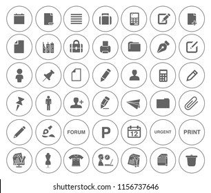 vector business office icons set - computer illustrations - phone sign and symbols
