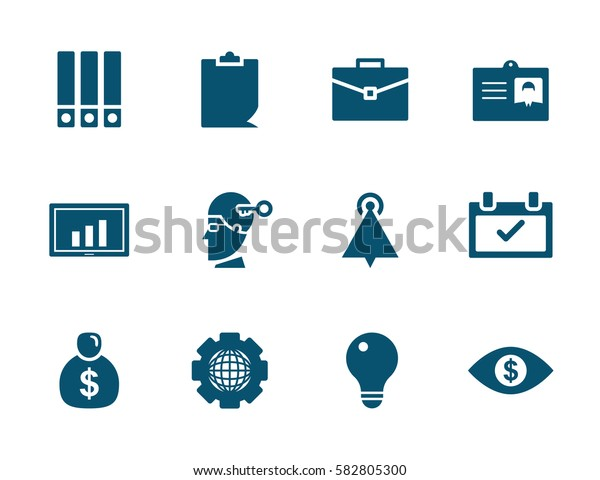 vector business office and money icon set