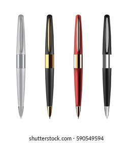 Vector business pens illustration isolated on white background.