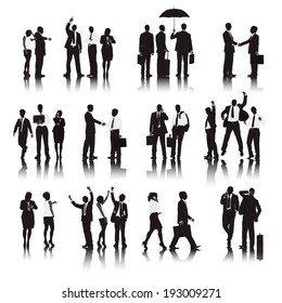 Vector of  business people in different actions.