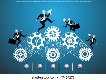 Vector business people to the path of success and victory in the competition with the trade. Backlash in driving targeted