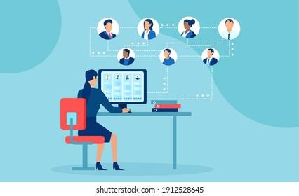 Geschäftsleute, die von zu Hause aus online chatten, mit moderner Technologie