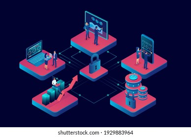 Vector of business people working on mobile gadgets connected via secure network