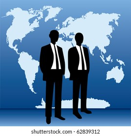 Vector of business people with world map