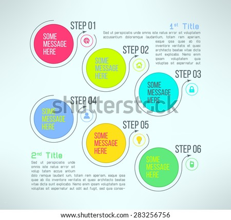Vector Business Process Steps Infographics Template Stock Vector - Process steps template