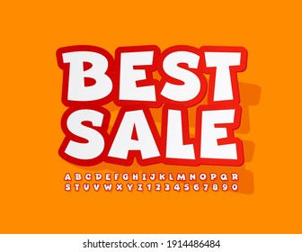 Vector business promo Best Sale. Comic style Font. Sticker bright Alphabet Letters and Numbers set