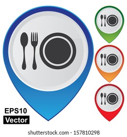 Vector : Business and Service Concept Present By Colorful Glossy Style Map Pointer With Food Center, Food Court, Cafeteria Service, Canteen or Restaurant Sign Isolated on White Background