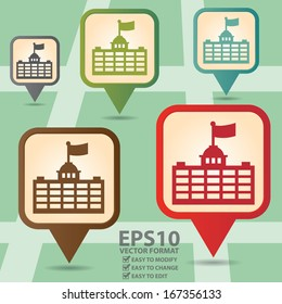 Vector : Business and Service Concept Present By Colorful Vintage Style Map Pointer Icon With Official Place, Immigration Bureau, Embassy, Consulate, School or University Sign in POI Map Background