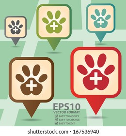 Vector : Business and Service Concept Present By Colorful Vintage Style Map Pointer Icon With Veterinary Care or Veterinary Clinic Sign in POI Map Background