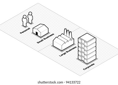 Vector Business Size Classification Icons