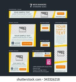 Vector business standard size Web Banners Set. Modern design concept for corporate website advertising.