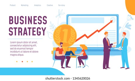 Vector business strategy concept creative template. Thinking and brainstorming on solution and success, business strategy. Great design for presentation, web,  advertisment and landing page template.