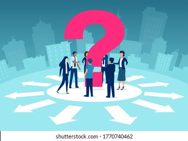 Vector of a business team standing at crossroads with question mark discusses the strategy future path