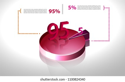 Vector business template cycle percentage flow diagrams, pie chart for your documents, reports, presentations for,infographics 95-5 percent. Vector illustration in 3d model.