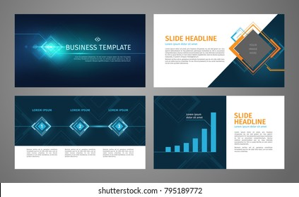 Vector business template set. Blue abstract banner, presentation slides with infographics, chart layout. Corporate annual report, advertising, marketing background. Brochure, flyer leaflet cover.