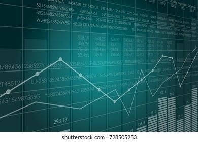 Vector business theme illustration. Background with graphs and figures. A digital panel with a distorted perspective