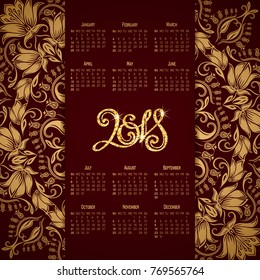 Vector business wall calendar on maroon background with elegant floral elements. Floral filigree gold ornament, hand-drawn numbers 2018. Elegant template in vintage style, week starting from Sunday.