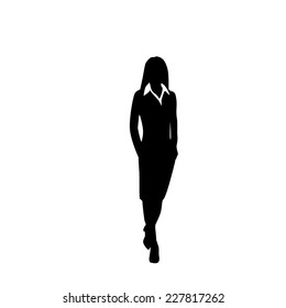 vector business woman black silhouette walk step forward full length over white background vector illustration