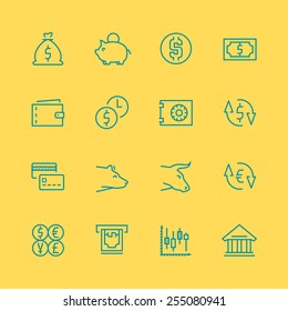 Vector business,finance and stock exchange icon set, thin line style