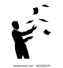 The vector of businessman with blow paper in silhouette style isolated on white background. Symbol for your web site design, logo, app, UI. Vector illustration, EPS