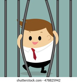 Vector of businessman breaking the prison concept for breaking the rule