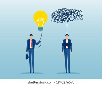 Vector of a businessman with bright idea vs a confused trapped in mental block man