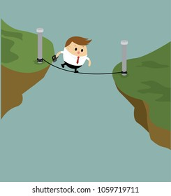 Vector of businessman climbing ropes across the cliffs