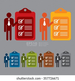 Vector : Businessman With To Do List Document Infographics Flat Icon, Sign