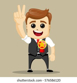 Vector businessman gives thumb up. Happy business man. Successful man, Smile. Peace sign