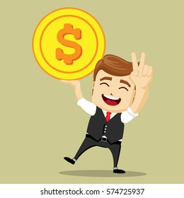 Vector businessman with gold coin in his hand. Big dollar bill. Business man and money.