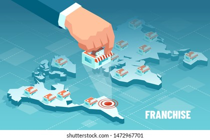 Vector of a businessman hand expanding brand store network on world map. Franchise business concept.