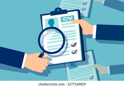 Vector of a businessman hands holding a magnifying glass reviewing papers with candidates information having interview
