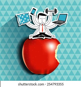 Vector of Businessman have balance life. Healthy life concept