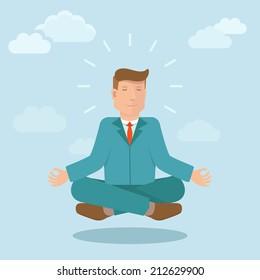 Vector businessman meditating in flat style - cartoon business illustration