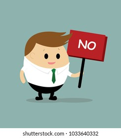 "Vector of businessman with ""NO"" signbroad"