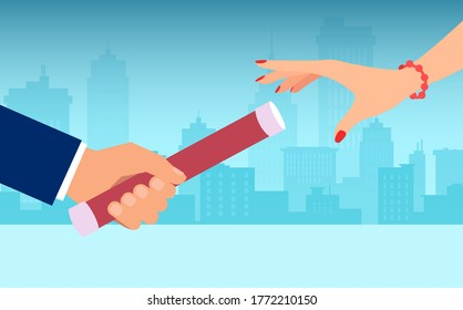Vector of a businessman passing relay baton to a businesswoman