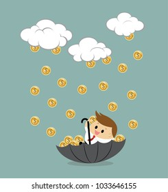 Vector of businessman sitting in umbrella to collect money rain.