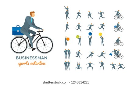 Vector businessman suit casual poses set in flat style. Full length, gestures, emotions, front, side, back view.